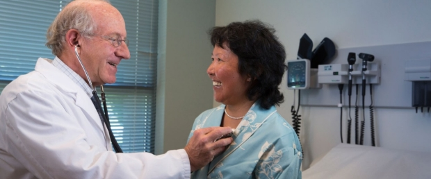 Dr. Berek with patient at Stanford in Palo Alto
