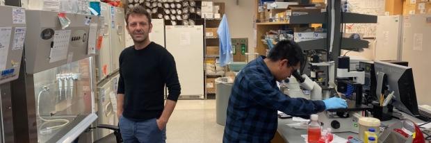 Vittorio Sebastiano, PhD, in his Stanford lab
